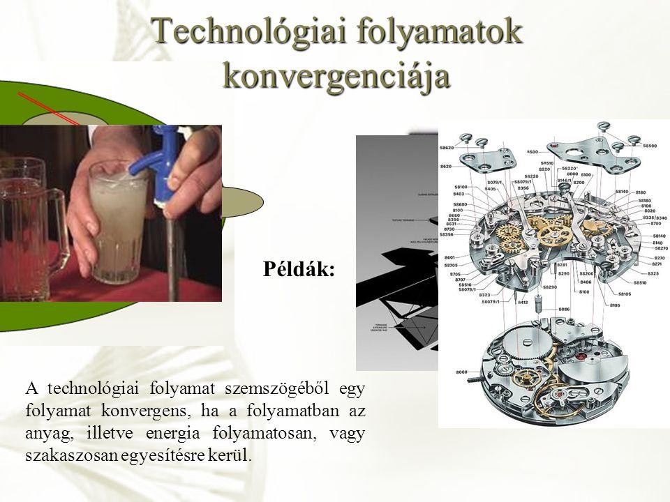 Technológiai folyamatok konvergenciája A technológiai folyamat szemszögéből egy folyamat konvergens, ha a folyamatban az anyag, illetve energia folyam