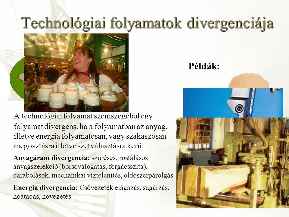 Technológiai folyamatok divergenciája A technológiai folyamat szemszögéből egy folyamat divergens, ha a folyamatban az anyag, illetve energia folyamat