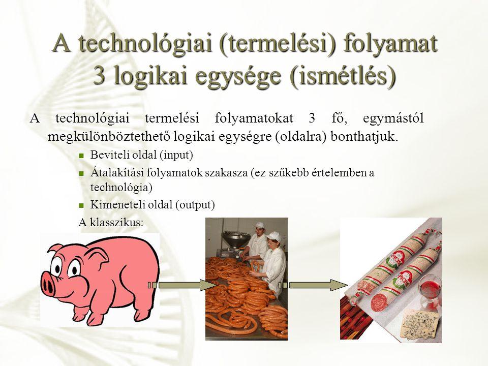A technológiai (termelési) folyamat 3 logikai egysége (ismétlés) A technológiai termelési folyamatokat 3 fő, egymástól megkülönböztethető logikai egys