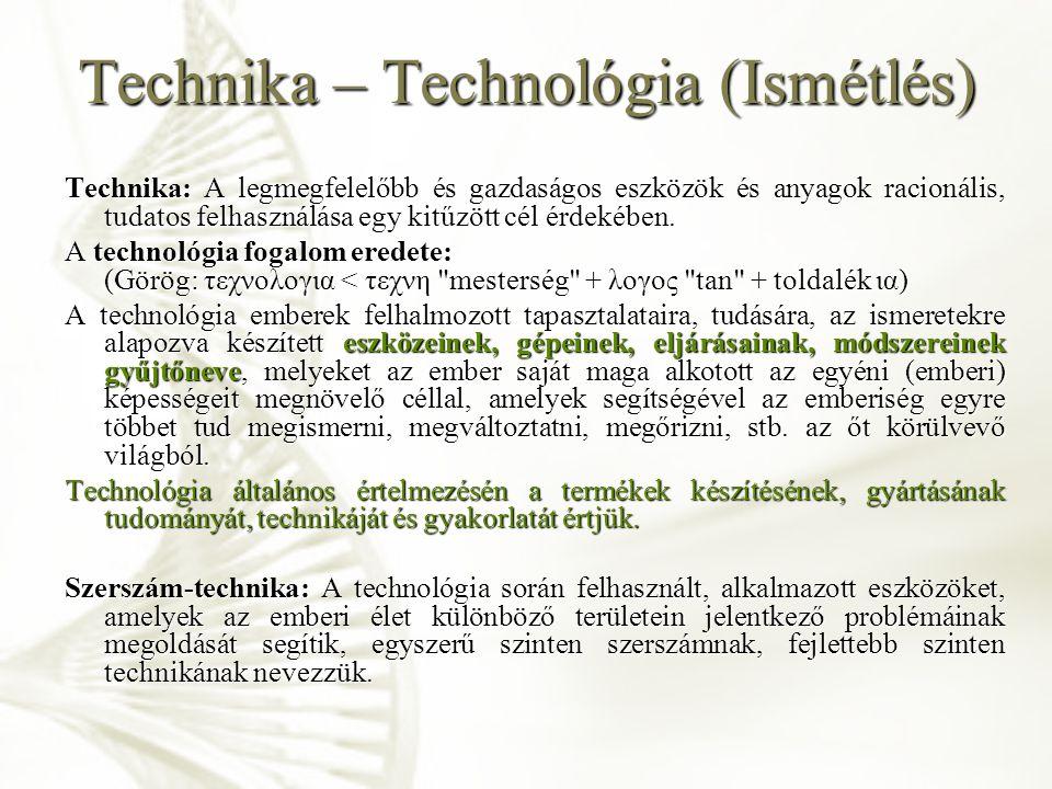 Technológiai ismertetőjelek (Ismétlés) A technológiai folyamat értékteremtő folyamat.
