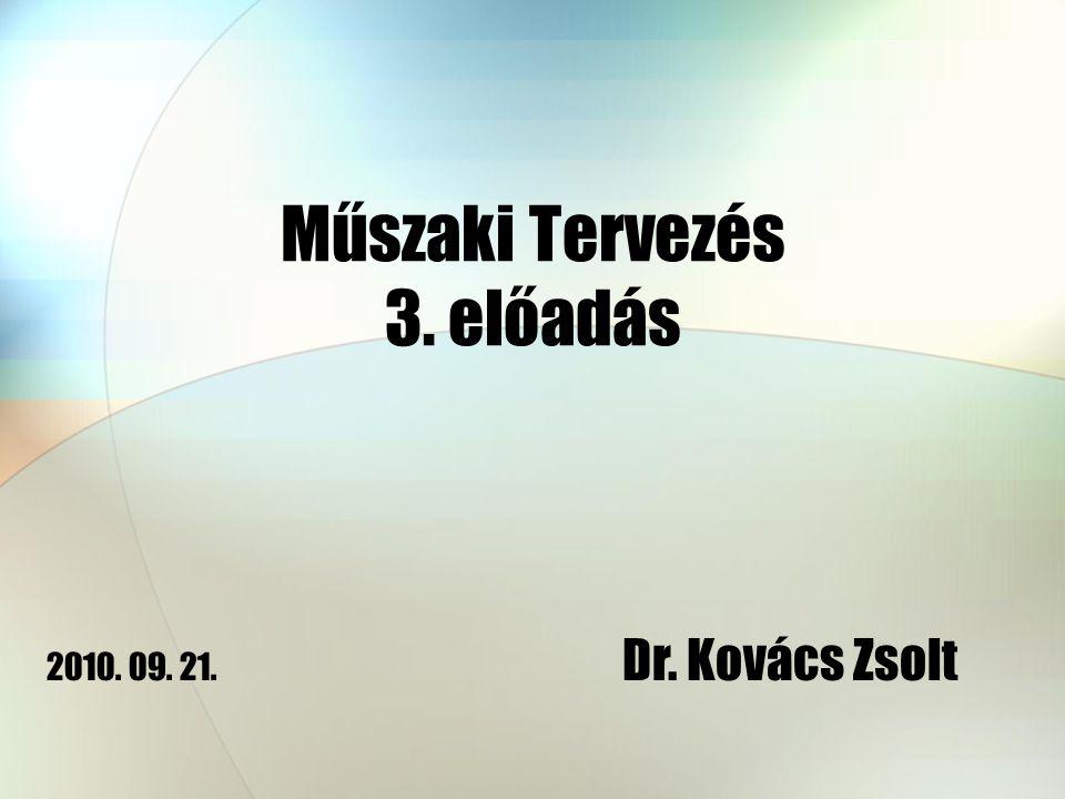 Műszaki Tervezés 3. előadás Dr. Kovács Zsolt 2010. 09. 21.