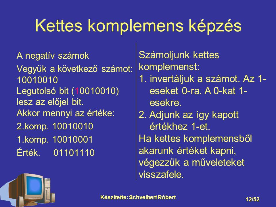 Készítette: Schveibert Róbert 12/52 Kettes komplemens képzés A negatív számok Vegyük a következő számot: 10010010 Legutolsó bit (10010010) lesz az előjel bit.