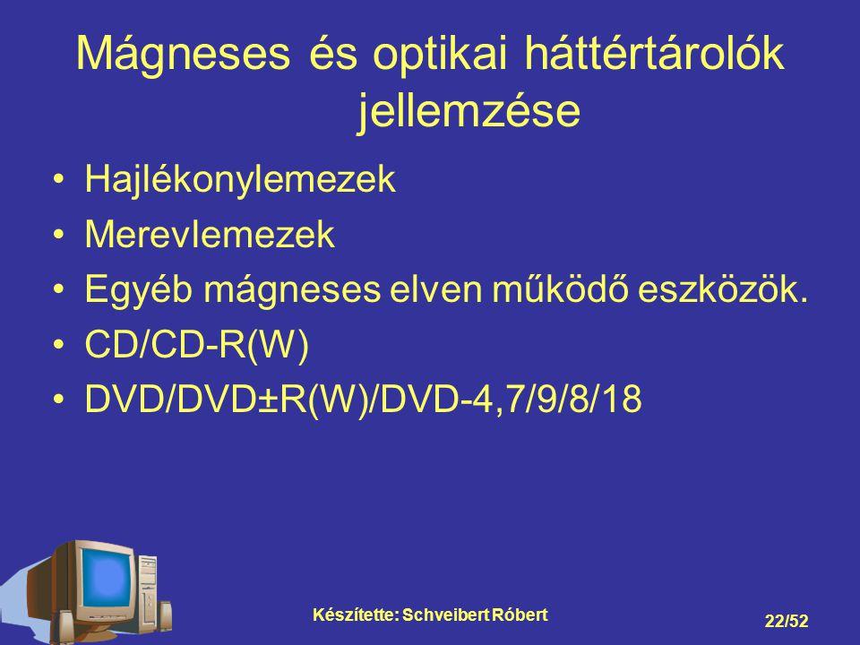 Készítette: Schveibert Róbert 22/52 Mágneses és optikai háttértárolók jellemzése Hajlékonylemezek Merevlemezek Egyéb mágneses elven működő eszközök.