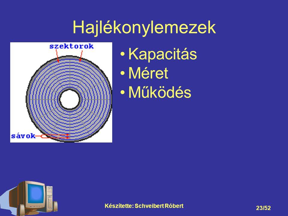Készítette: Schveibert Róbert 23/52 Hajlékonylemezek Kapacitás Méret Működés