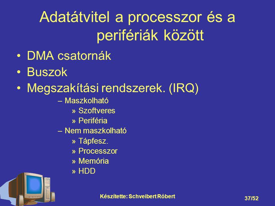 Készítette: Schveibert Róbert 37/52 Adatátvitel a processzor és a perifériák között DMA csatornák Buszok Megszakítási rendszerek.