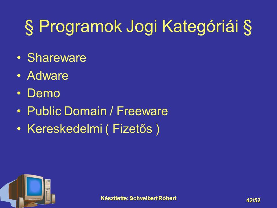 Készítette: Schveibert Róbert 42/52 § Programok Jogi Kategóriái § Shareware Adware Demo Public Domain / Freeware Kereskedelmi ( Fizetős )