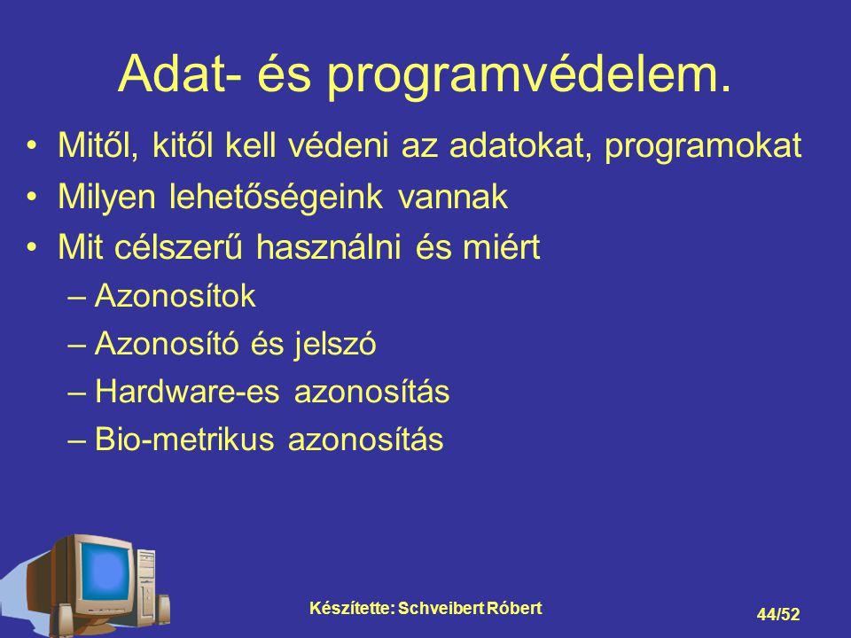 Készítette: Schveibert Róbert 44/52 Adat- és programvédelem.