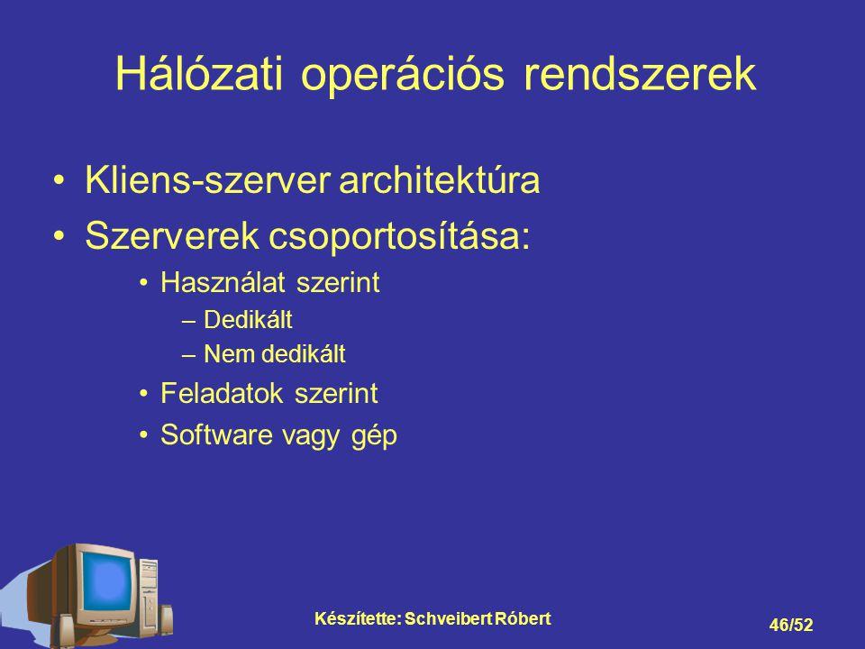 Készítette: Schveibert Róbert 46/52 Kliens-szerver architektúra Szerverek csoportosítása: Használat szerint –Dedikált –Nem dedikált Feladatok szerint Software vagy gép Hálózati operációs rendszerek