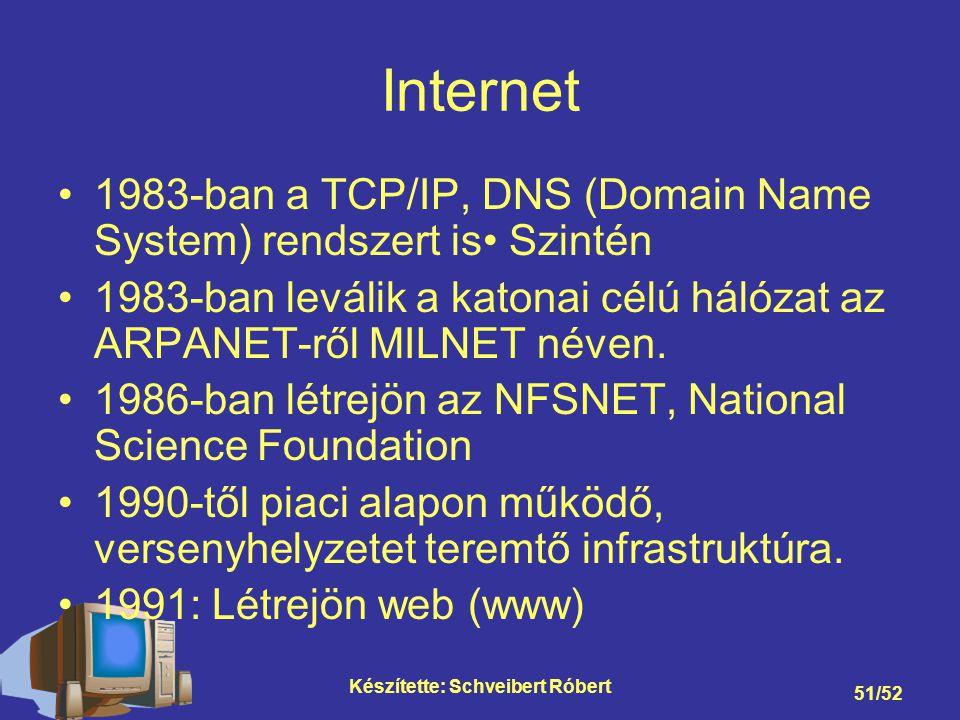 Készítette: Schveibert Róbert 51/52 Internet 1983-ban a TCP/IP, DNS (Domain Name System) rendszert is Szintén 1983-ban leválik a katonai célú hálózat az ARPANET-ről MILNET néven.