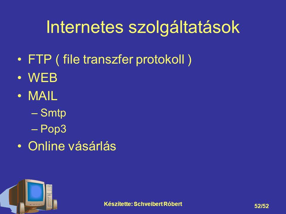 Készítette: Schveibert Róbert 52/52 Internetes szolgáltatások FTP ( file transzfer protokoll ) WEB MAIL –Smtp –Pop3 Online vásárlás