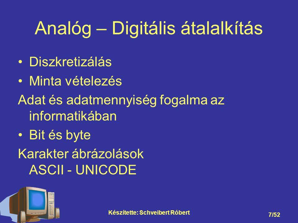 Készítette: Schveibert Róbert 7/52 Analóg – Digitális átalalkítás Diszkretizálás Minta vételezés Adat és adatmennyiség fogalma az informatikában Bit és byte Karakter ábrázolások ASCII - UNICODE