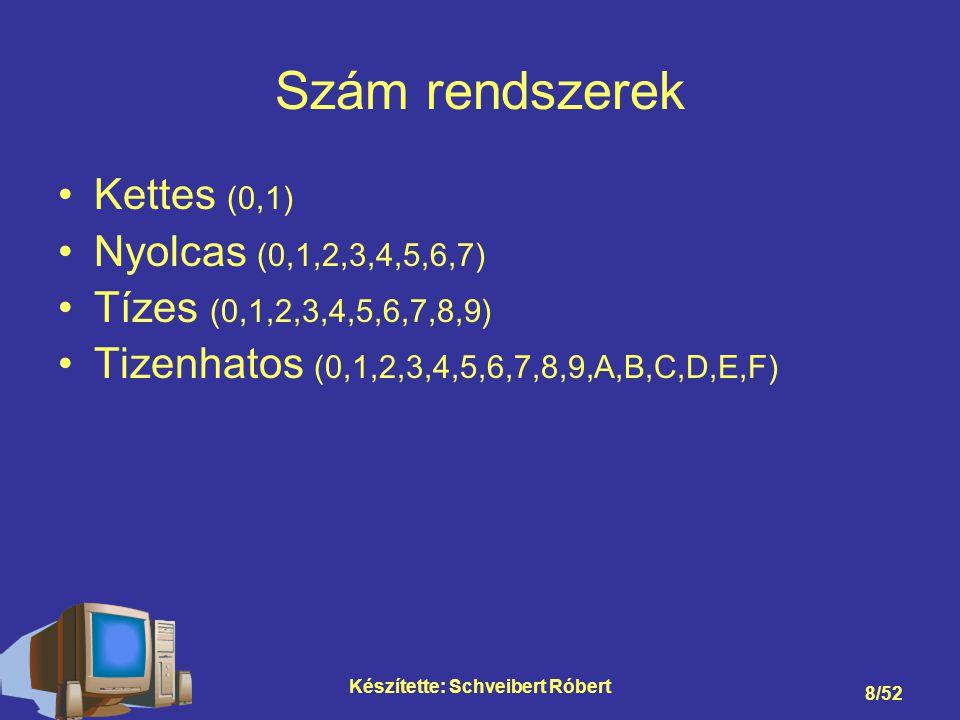 Készítette: Schveibert Róbert 9/52 Kettes számrendszer 48 = 110000 2 193= 11000001 2 1931 960 480 240 120 60 31 11 0 2727 2626 2525 2424 23232 2121 2020 11000001 1*2 7 +1*2 6 +0*2 5 +0*2 4 +0*2 3 +0*2 2 +0*2 1 +1*2 0 = 128+64+1=193