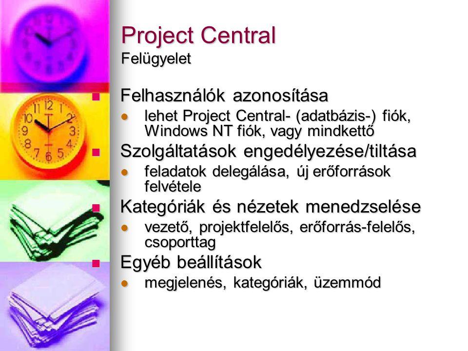Project Central Felügyelet Felhasználók azonosítása Felhasználók azonosítása lehet Project Central- (adatbázis-) fiók, Windows NT fiók, vagy mindkettő lehet Project Central- (adatbázis-) fiók, Windows NT fiók, vagy mindkettő Szolgáltatások engedélyezése/tiltása Szolgáltatások engedélyezése/tiltása feladatok delegálása, új erőforrások felvétele feladatok delegálása, új erőforrások felvétele Kategóriák és nézetek menedzselése Kategóriák és nézetek menedzselése vezető, projektfelelős, erőforrás-felelős, csoporttag vezető, projektfelelős, erőforrás-felelős, csoporttag Egyéb beállítások Egyéb beállítások megjelenés, kategóriák, üzemmód megjelenés, kategóriák, üzemmód