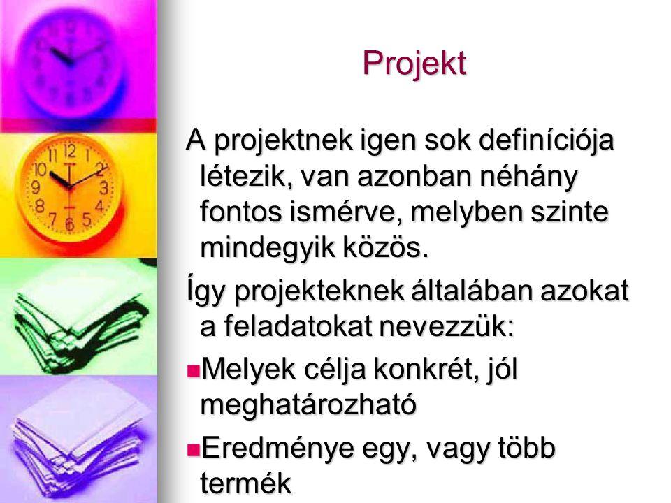 Projekt A projektnek igen sok definíciója létezik, van azonban néhány fontos ismérve, melyben szinte mindegyik közös.