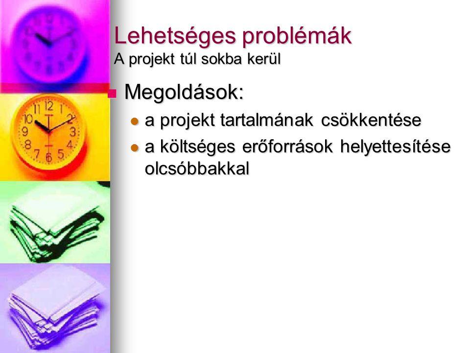 Lehetséges problémák A projekt túl sokba kerül Megoldások: Megoldások: a projekt tartalmának csökkentése a projekt tartalmának csökkentése a költséges erőforrások helyettesítése olcsóbbakkal a költséges erőforrások helyettesítése olcsóbbakkal
