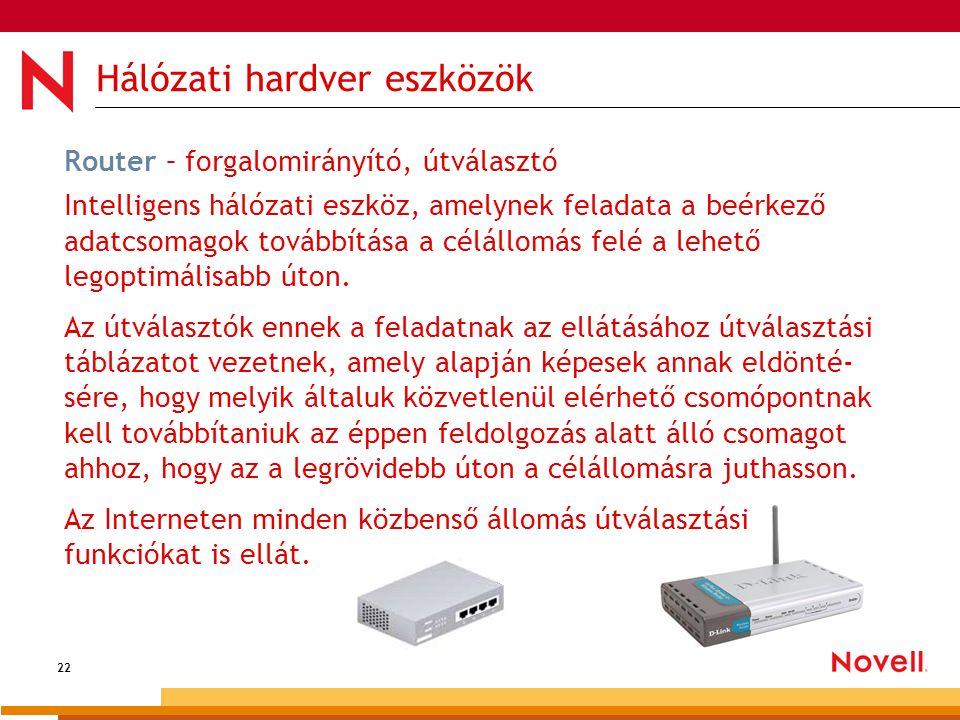 22 Hálózati hardver eszközök Router – forgalomirányító, útválasztó Intelligens hálózati eszköz, amelynek feladata a beérkező adatcsomagok továbbítása