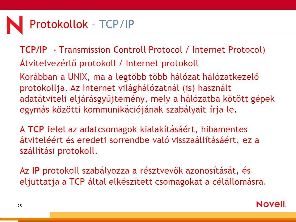 25 Protokollok – TCP/IP TCP/IP - Transmission Controll Protocol / Internet Protocol) Átvitelvezérlő protokoll / Internet protokoll Korábban a UNIX, ma