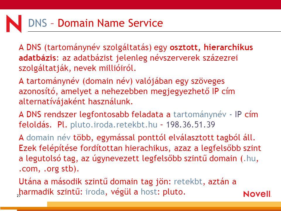 27 DNS – Domain Name Service A DNS (tartománynév szolgáltatás) egy osztott, hierarchikus adatbázis: az adatbázist jelenleg névszerverek százezrei szol