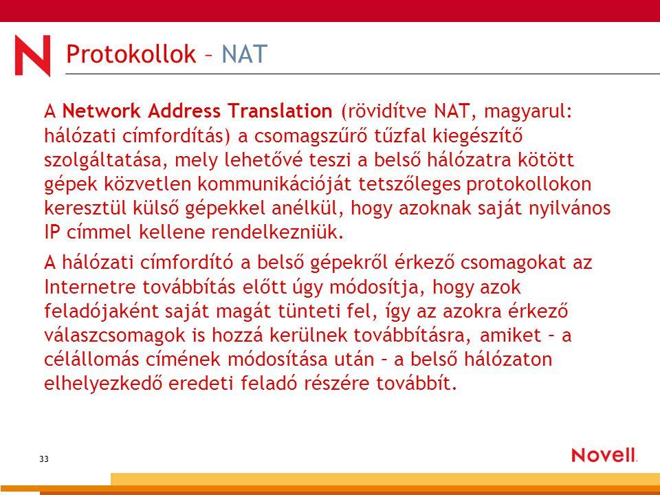 33 Protokollok – NAT A Network Address Translation (rövidítve NAT, magyarul: hálózati címfordítás) a csomagszűrő tűzfal kiegészítő szolgáltatása, mely