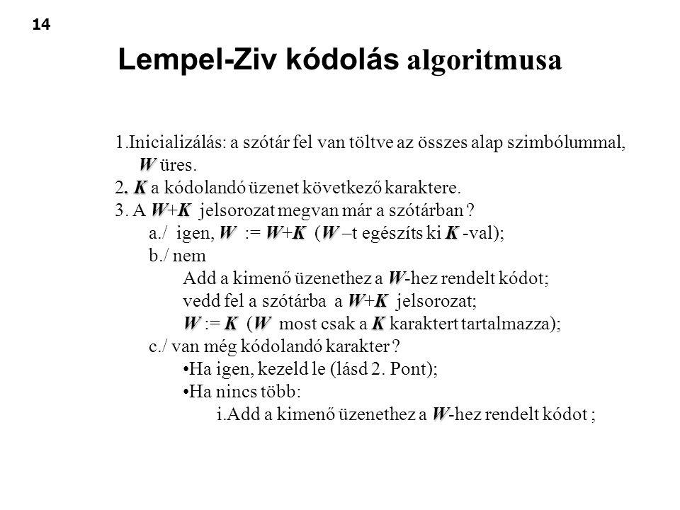 14 Lempel-Ziv kódolás algoritmusa W 1.Inicializálás: a szótár fel van töltve az összes alap szimbólummal, W üres.. K 2. K a kódolandó üzenet következő
