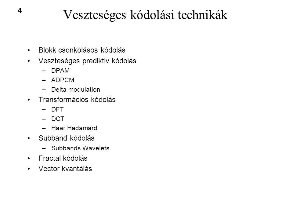 4 Veszteséges kódolási technikák Blokk csonkolásos kódolás Veszteséges prediktiv kódolás –DPAM –ADPCM –Delta modulation Transformációs kódolás –DFT –D