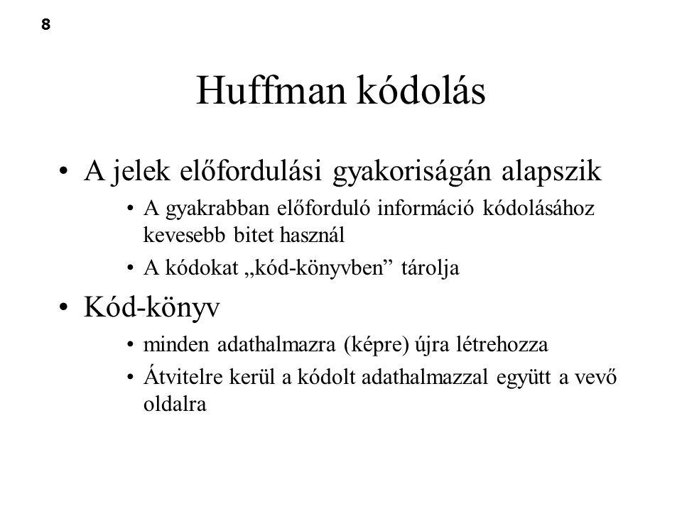 9 Huffman kódolás 1.Rendezzük az elemeket az előfordulásuk valószínűségeik (gyakoriságaik) sorrendjében.