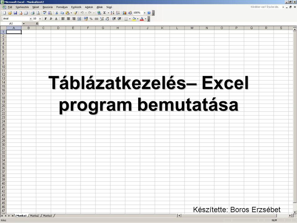 Táblázatkezelés– Excel program bemutatása Készítette: Boros Erzsébet