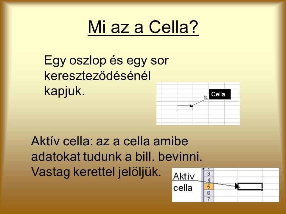 Mi az a Cella? Egy oszlop és egy sor kereszteződésénél kapjuk. Aktív cella: az a cella amibe adatokat tudunk a bill. bevinni. Vastag kerettel jelöljük