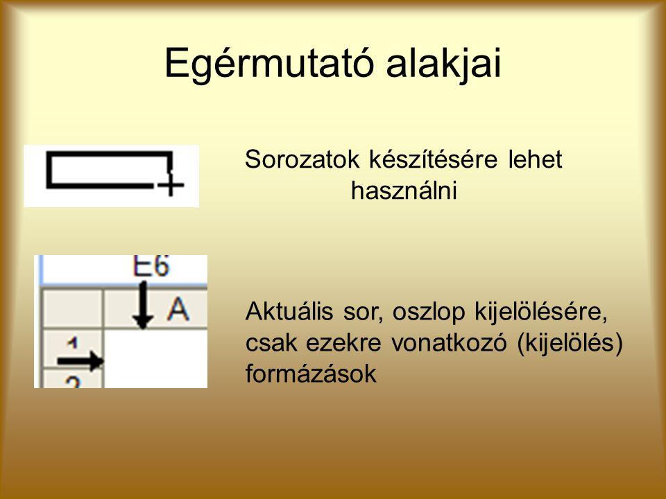 Egérmutató alakjai Sorozatok készítésére lehet használni Aktuális sor, oszlop kijelölésére, csak ezekre vonatkozó (kijelölés) formázások