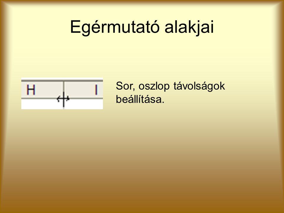 Egérmutató alakjai Sor, oszlop távolságok beállítása.