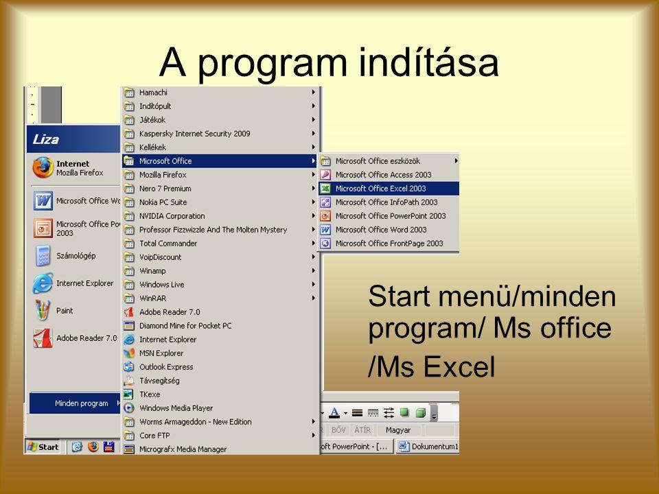 A program indítása Start menü/minden program/ Ms office /Ms Excel