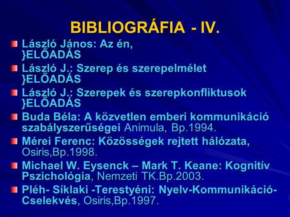 BIBLIOGRÁFIA – IV.Szabó Katalin: Kommunikáció felsőfokon, Kossuth Kiadó,Bp.2001.
