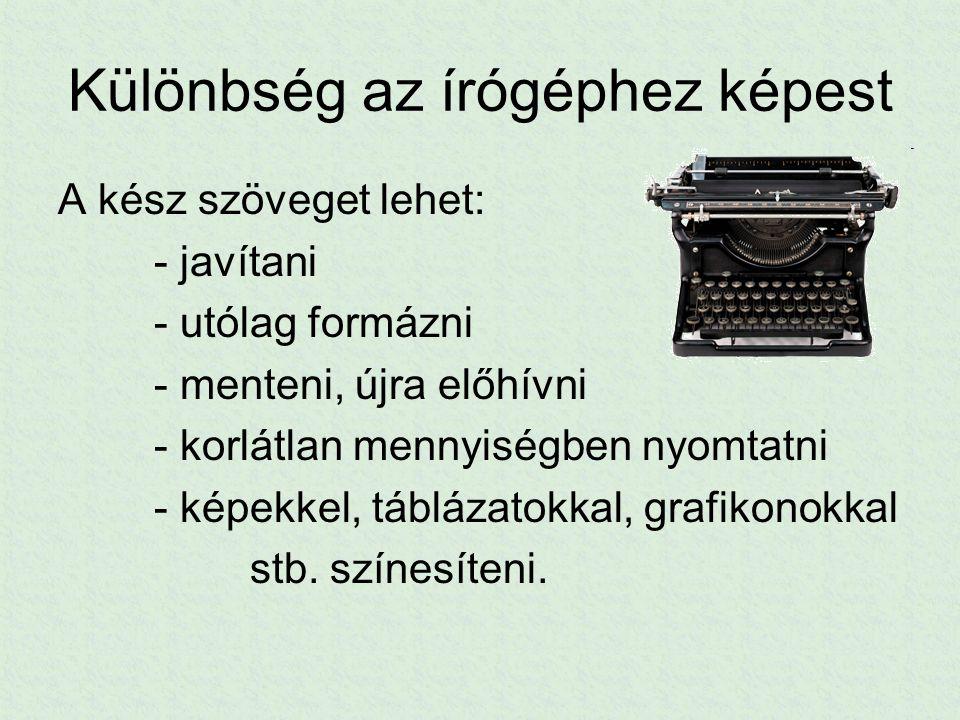 Különbség az írógéphez képest A kész szöveget lehet: - javítani - utólag formázni - menteni, újra előhívni - korlátlan mennyiségben nyomtatni - képekk