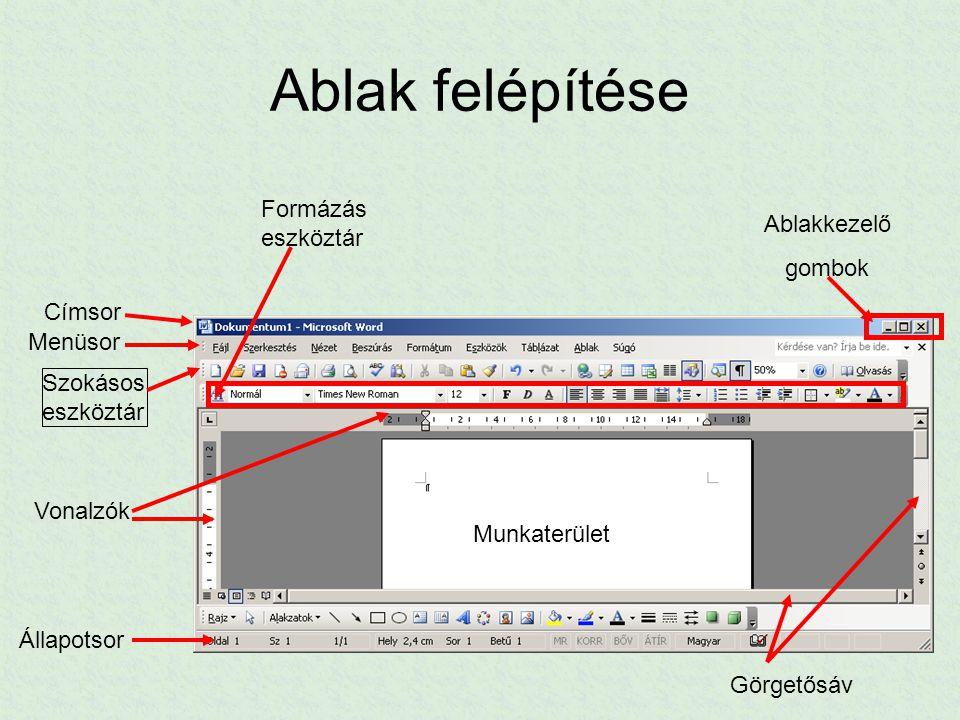 Dokumentumkészítés alapjai Új dokumentum létrehozása Indításkor a Word automatikusan létrehoz egy üres dokumentumot (pl.: Dokumentum.doc) Fájl/Új dokumentum  Választhatunk sablont
