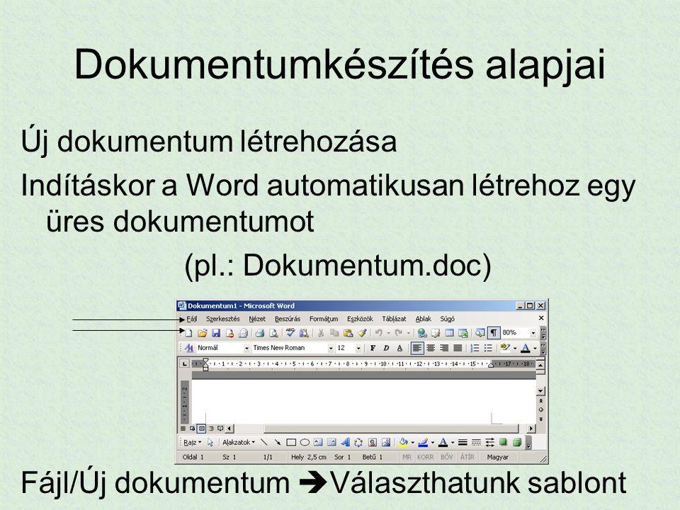 Dokumentumkészítés alapjai Új dokumentum létrehozása Indításkor a Word automatikusan létrehoz egy üres dokumentumot (pl.: Dokumentum.doc) Fájl/Új doku
