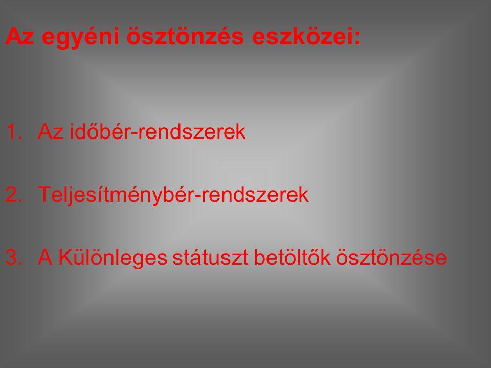 Az egyéni ösztönzés eszközei: 1.Az időbér-rendszerek 2.Teljesítménybér-rendszerek 3.A Különleges státuszt betöltők ösztönzése