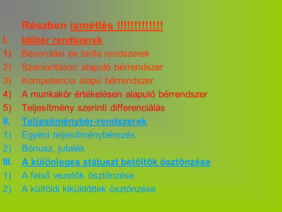 Részben ismétlés !!!!!!!!!!!!! I. Időbér rendszerek 1)Besorolási és tarifa rendszerek 2)Szenioritáson alapuló bérrendszer 3)Kompetencia alapú bérrends