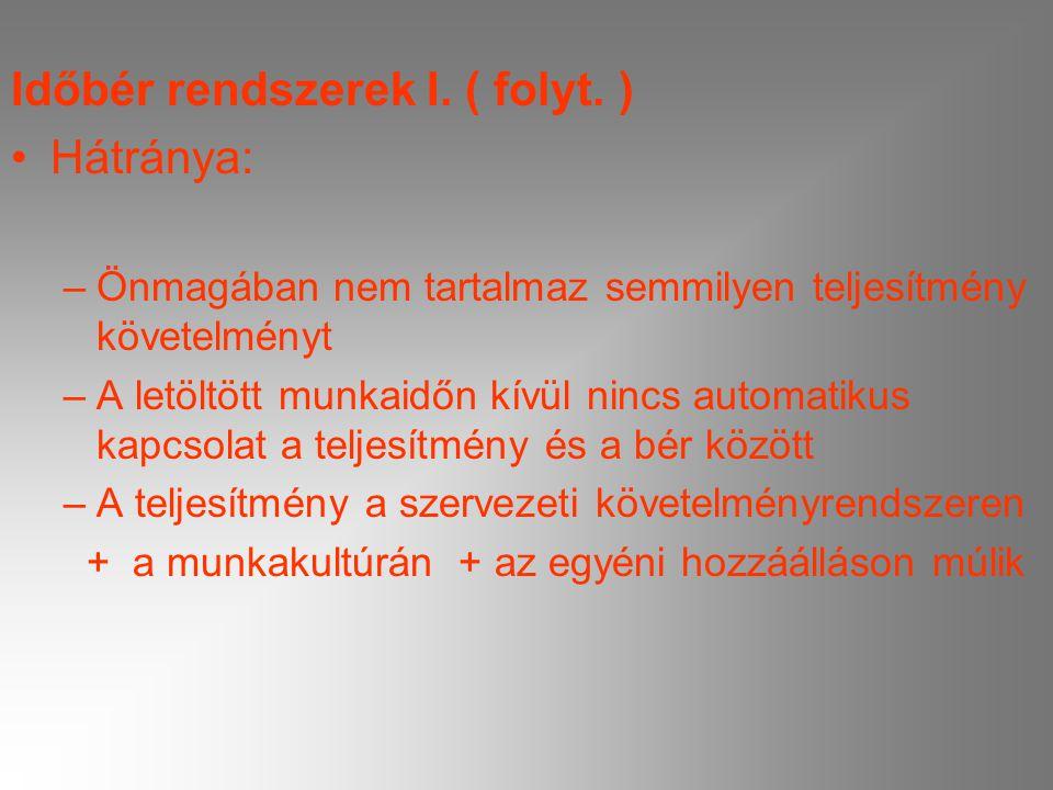Időbér rendszerek I. ( folyt. ) Hátránya: –Önmagában nem tartalmaz semmilyen teljesítmény követelményt –A letöltött munkaidőn kívül nincs automatikus