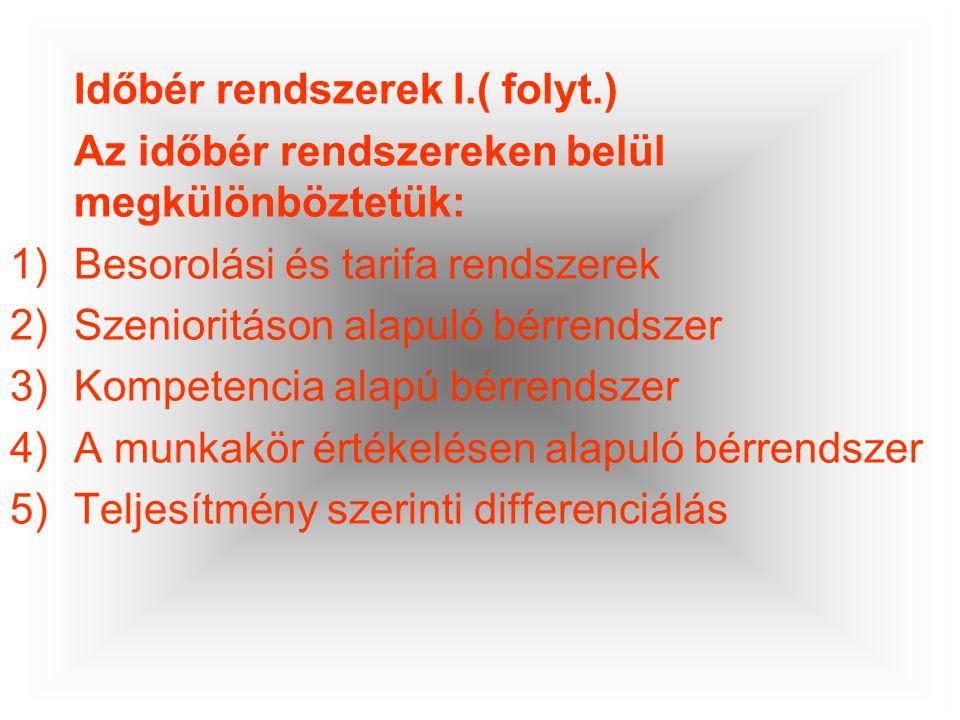 Időbér rendszerek I.( folyt.) Az időbér rendszereken belül megkülönböztetük: 1)Besorolási és tarifa rendszerek 2)Szenioritáson alapuló bérrendszer 3)K