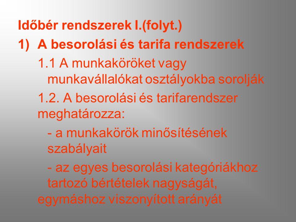 Időbér rendszerek I.(folyt.) 1)A besorolási és tarifa rendszerek 1.1 A munkaköröket vagy munkavállalókat osztályokba sorolják 1.2. A besorolási és tar