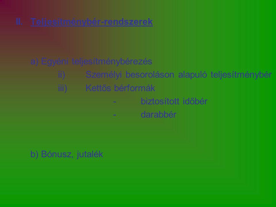II.Teljesítménybér-rendszerek a) Egyéni teljesítménybérezés ii)Személyi besoroláson alapuló teljesítménybér iii)Kettős bérformák -biztosított időbér -