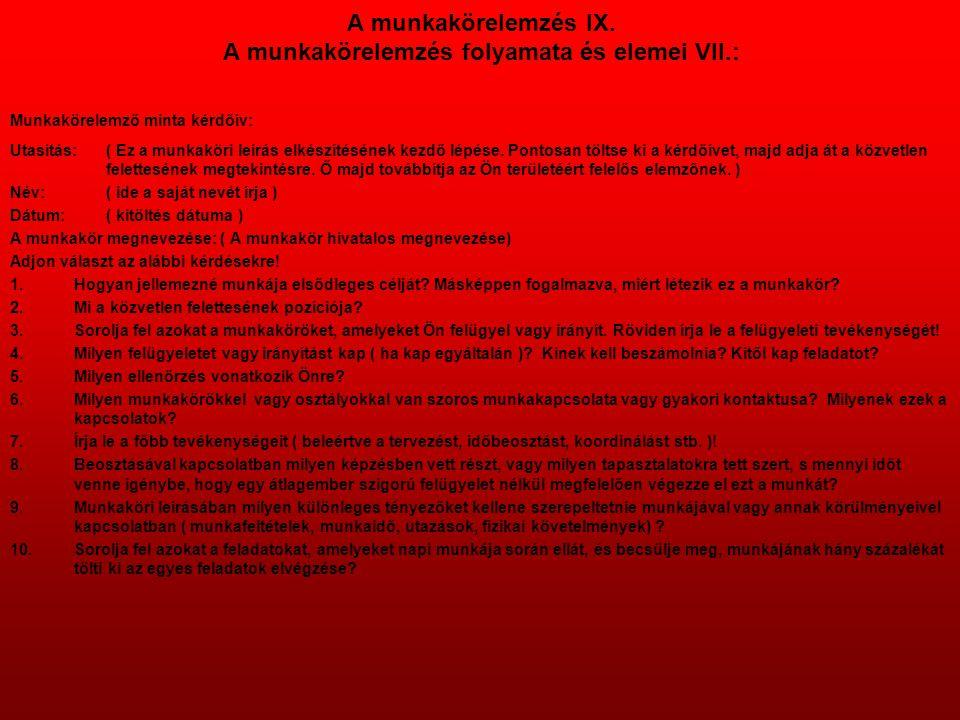 A munkakörelemzés IX. A munkakörelemzés folyamata és elemei VII.: Munkakörelemző minta kérdőív: Utasítás: ( Ez a munkaköri leírás elkészítésének kezdő