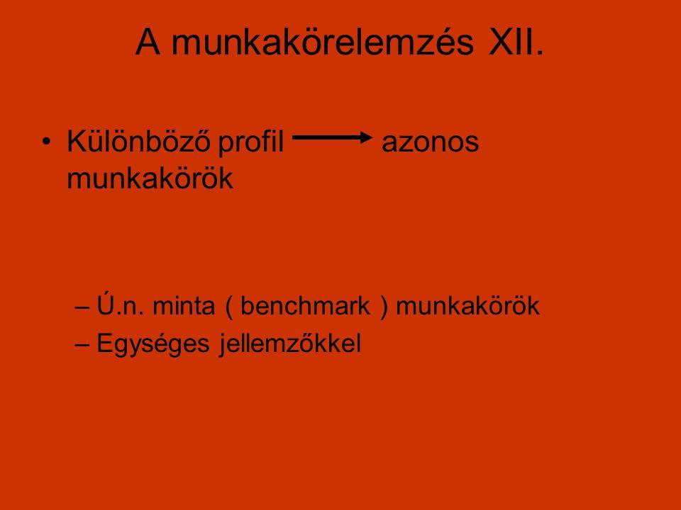 A munkakörelemzés XII. Különböző profilazonos munkakörök –Ú.n. minta ( benchmark ) munkakörök –Egységes jellemzőkkel