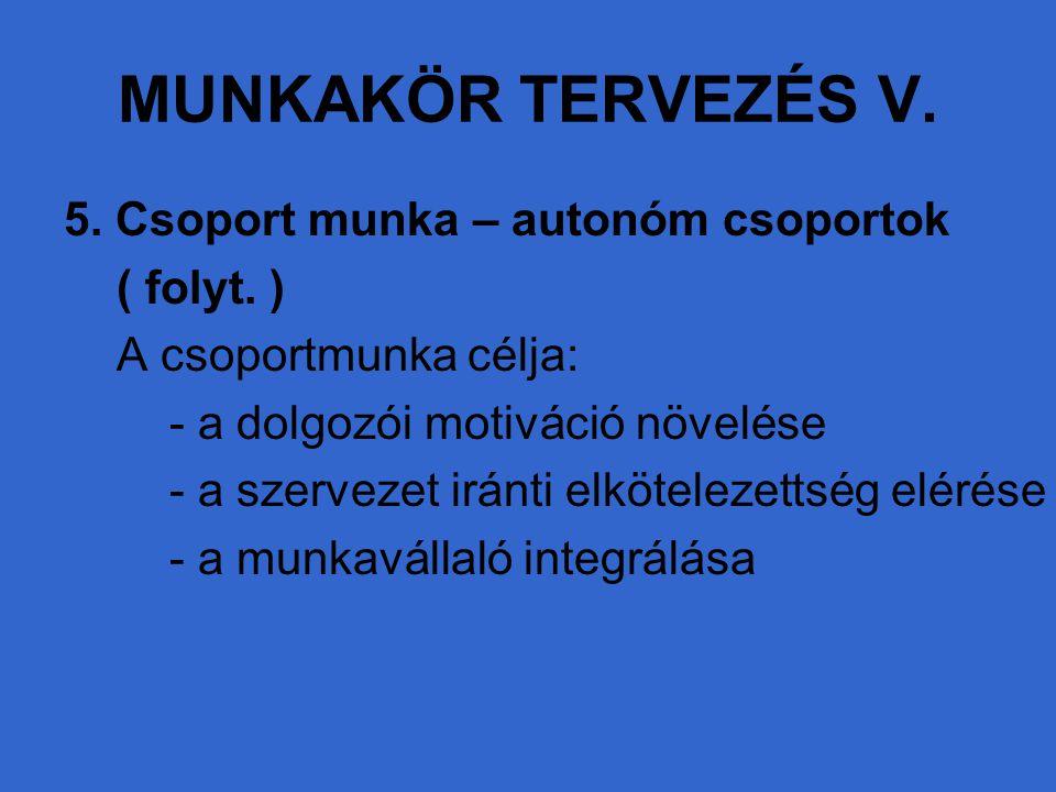 MUNKAKÖR TERVEZÉS V. 5. Csoport munka – autonóm csoportok ( folyt. ) A csoportmunka célja: - a dolgozói motiváció növelése - a szervezet iránti elköte