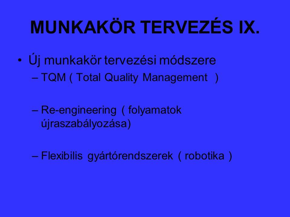 MUNKAKÖR TERVEZÉS IX. Új munkakör tervezési módszere –TQM ( Total Quality Management ) –Re-engineering ( folyamatok újraszabályozása) –Flexibilis gyár