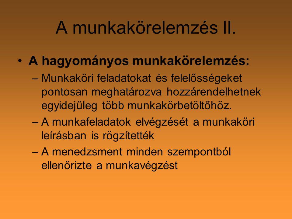 A munkakörelemzés XIII.8. Eredmények: - új aktualizált munkaköri leírások 9.