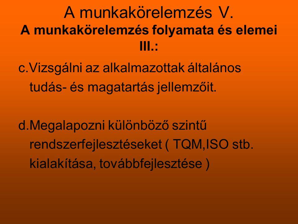 A munkakörelemzés V. A munkakörelemzés folyamata és elemei III.: c.Vizsgálni az alkalmazottak általános tudás- és magatartás jellemzőit. d.Megalapozni