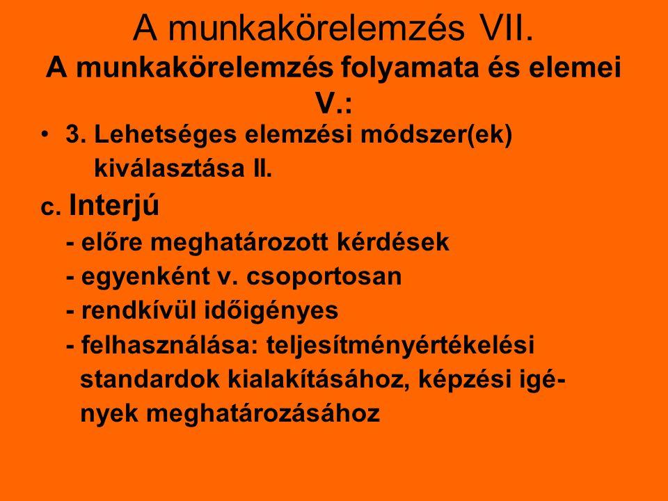 A munkakörelemzés VIII.A munkakörelemzés folyamata és elemei VI.: 3.