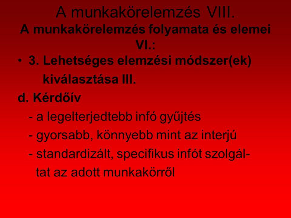 Munkaköri leírás VII.