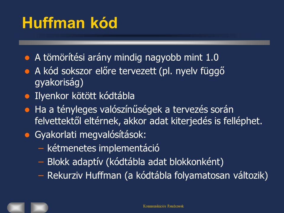 Kommunikációs Rendszerek Huffman kód A tömörítési arány mindig nagyobb mint 1.0 A kód sokszor előre tervezett (pl. nyelv függő gyakoriság) Ilyenkor kö